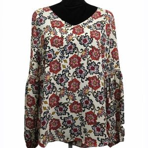 Rose & Olive Multicolor Floral Pattern Blouse NWT